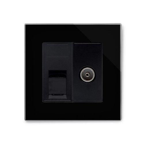 RetroTouch Cat 6/TV Socket Black Glass PG 04239